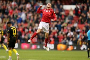 NOTTINGHAM, ENGLAND - OCTOBER 05:  Joe Worrall of Nottingham Forest celebrates at the end of  the Sky Bet Championship match between Nottingham Forest and Brentford at City Ground on October 05, 2019 in Nottingham, England. (Photo by Paul Harding/Getty Images)
