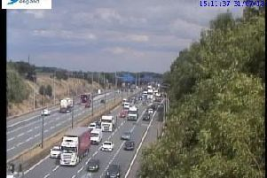 Traffic building up on the M62 westbound carriageway between junctions 26 and 27. Picture: Crown 2018