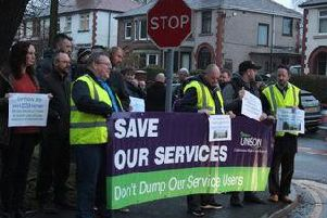Unison members protesting against the NHS closure of the former Calderstones hospital, now Mersey Care Whalley, in 2015.
