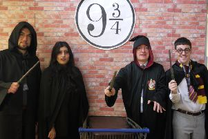 Wizard time: Upper Batley High School staff dress up as Harry Potter characters.