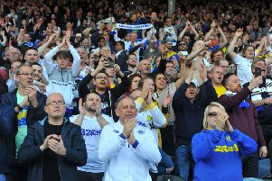 Leeds United fans applaud the team off at the end of the Millwall game.
