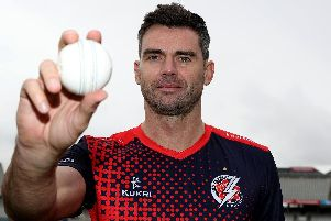 Jimmy Anderson took three wickets on the opening day of Lancashire's County Championship season