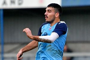 Danny Farrar scored the only goal of the game as Liversedge booked their place in the NCE League Cup final with victory over Swallownest on Tuesday night. Picture: Paul Butterfield