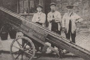 Cleaning up: Three of the Mitchell brothers when they started their first window cleaning company in Dewsbury over a hundred years ago. Monty Mitchell, who brought rock 'n' roll to Dewsbury was their nephew.