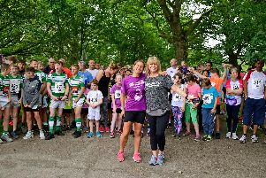 Kim Leadbeater, sister of Jp Cox, with ITV Calendar presenter Christine Talbot at Run for Jo 2019, at Oakwell Hall, Birstall