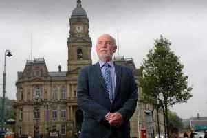 Eric Firth, former Mayor of Kirklees and Dewsbury Labour stalwart, who lost his seat by 71 votes in the May 2019 local elections to an independent candidate, pictured in front of Dewsbury Town Hall. June 2019.