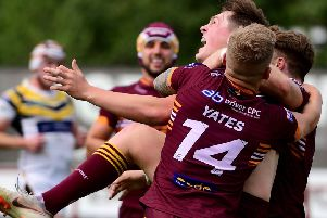 Jack Broadbent celebrates scoring his first try for Batley Bulldogs.