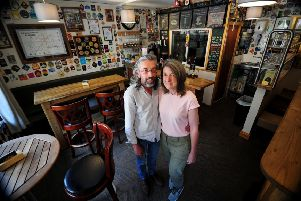 Nadine Waring and Damian Lake are to get married in the their micropub, Calan's at Hebden Bridge. Picture by Simon Hulme