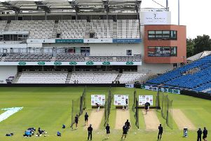 England's Joe Root, Joe Denly and Jason Roy bat in front of the new stand during the nets session at Headingley, Leeds.