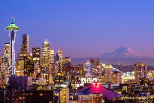 Seattle skyline with the Space Needle and Mt. Rainier