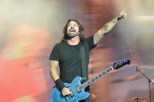 Foo Fighters' Dave Grohl on stage at the Leeds Festival.