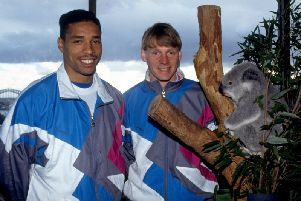 Des Walker and Stuart Pearce pictured on England duty