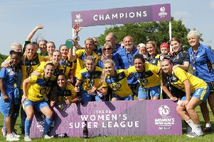 Doncaster Rovers Belles celebrate winning the FAWSL2 title