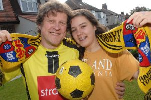Harrogate Town fans Dave Worton and his daughter Molly.