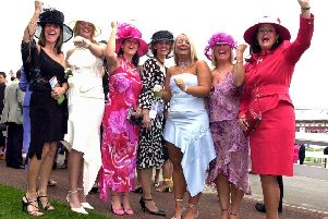 Doncaster news: 11/9/2003.''Ladies' Day race goers: Cheering on their favourites are, from left, Jane Jones, Lisa Jones, Colleen Newbury, Lesley Bowman, Brooke Middleton, Lesley Middleton and Wendy Deacon.