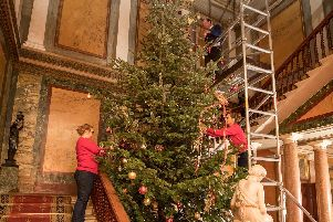 Friday 1st December 2017, Doncaster, UK''Picture Shows'Stacey Clarkson-Goode, site manager at Brodsworth Hall & Gardens, with her team dress the Tree in preparations for Enchanted, which opens on the 15th December and runs for 9 nights, this is the first time the hall has had a Christmas tree since English Heritage have had the house in their collection