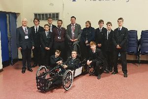 Isle MP, Andrew Percy, joined Cllr John Briggs and Cllr Julie Reed for a visit to Axholme Academy to see the progress on the school's Formula 24 project.