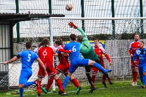 Action from Grimsby Borough v Armthorpe Welfare. Photo: Steve Pennock