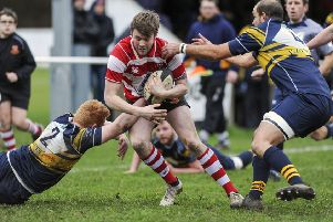 Ben Dearing looks to set up a Cleckheaton attack, driving at the heart of the Bridlington defence during last Saturday's North One East Clash at Moorend.