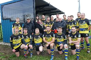 Susan Durant, Mayor of Thorne and Moorends, pictured officially opening the new stand at Moorends Recreation Ground with Terry Gent,  Kim Reed, both of Moorends Welfare working group, parish councillors Craig Ellis and Joe Blackham and players from Moorends Thorne Mauraders RLFC. Picture: Marie Caley