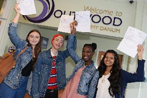 Celebrating their GCSE results at Outwood Academy Danum are l-r Lucy Truster, 16, of Wheatley, Rhys Knox, 16,of Balby, both are heading to New College to study A levels, Ayomide Oduyebo, 16, of Wheatley, will continue her studies at Hall Cross and Charmithaa Balendran, 16, of Wheatley, who gained eight 9's and three eight grades and is also going to Hall Cross to study for her A Levels  Picture: Marie Caley NDFP-23-08-18-GCSEDanum-2