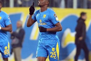 On-loan Leeds United winger Hadi Sacko after his goal for Ankaragucu last night.