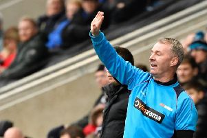 Chesterfield manager John Sheridan shouts instructions: Picture by Steve Flynn/AHPIX.com, Football: Vanarama National League match AFC Fylde -V- Chesterfield FC at Mill Farm, Kirkham, Lancashire, England on copyright picture Howard Roe 07973 739229