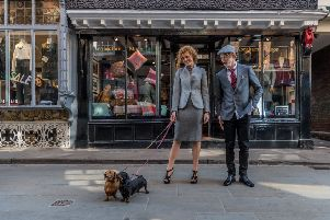 Models wear designs including wool tailoring and accessories by Abraham Moon of Guiseley, in front of the mill's retail shop in York, taken for a special Yorkshire Post Magazine fashion shoot last year. Picture: James Hardisty. Styling: Stephanie Smith