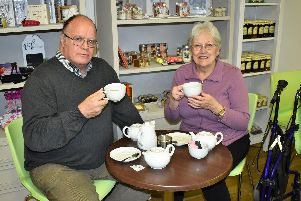Hospice volunteers Mike Worthington (left) and Carole Swindells (right)