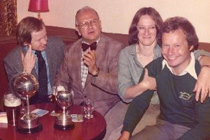 .Lesley and Barry Guise (right) with other team members in the Joiners Arms, c.1982.