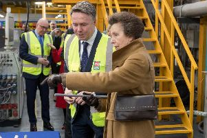 Princess Anne at Polypipe, in Wheatley,, Doncaster