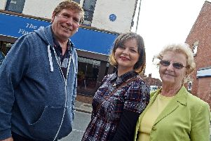 Stephen Hamilton, of Mexborough, Abigail Ward, of Maltby and Eileen Ward, of Swinton, pictured on Main Street, Mexborough, were all hoping to take part in the Ted Hughes Trail. Picture: Marie Caley NSYT 09-09-14 Hughes Trail MC 1