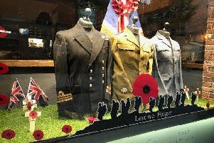 The Shoe Room's award winning display commemorating Armistice Day at Priory Walk