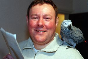 Actor Peter Rylands with 'Jackie' the parrot at Starbeck, Harrogate, last night, (tuesday). STORY HOWARD WILIAMSON.