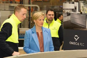 HRH meets Liam Deakes (left) and Jason Brewer (right) at the assembly line where kitchen cabinets are assembled.