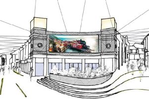 An artist's impression showing how Vicar Lane might look with a giant outdoor screen