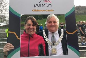 Ribble Valley Mayor Stuart Carefoot and Mayoress Sarah Rainford at Saturday's Clitheroe Castle parkrun event. All photos by Paul Dudbridge.