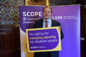 Chesterfield MP Toby Perkins shows his support for Scope's campaign.