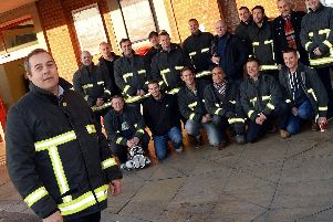 Neil Carbutt pictured with firefighters before a previous protest over cuts in 2016. Picture: Marie Caley NDFP Firefighters Protest MC 1