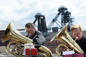 Hatfield Main Colliery Band pictured playing during a rally in front of the winding gear in 2015. Picture: Marie Caley NDFP Colliery MC 5