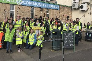 Volunteers getting ready for the Great Stainforth Sping Clean, outside Stainforth Library