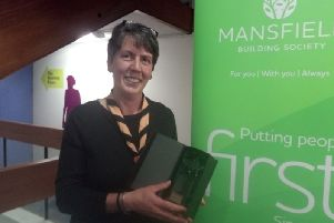 Huthwaite Scouts Leader Julie Copestake won the annual Mansfield Building Society Community Star award 2019.