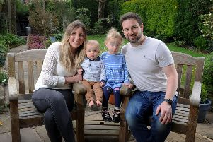 Amy Campbell with her husband Connor, and children Charlotte and Archie.
