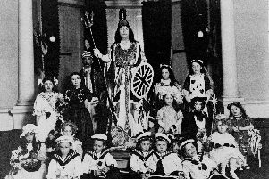 Lady Isabella of Cusworth Hall as Britannia at a fancy dress party