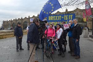 Brexit campaigning on bikes