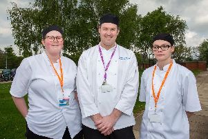 Catering tutor Simon French with catering students Charlotte Gray and Kate Tuplin