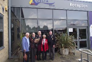 Bernard with his family and friends outside Ash Hill Academy, Hatfield