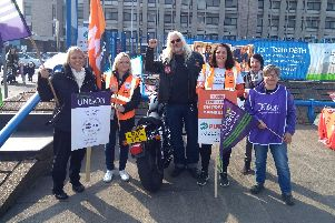 Strikers from the union Unison at Doncaster Royal Infirmary.