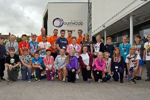 Alex Fraser, Health Monitor, Marvin Reader, Course Leader, Callum Morrow, Jack Halliday and James, Legg, all Health Monitors, pictured with XLR8 participants at Outwood Academy Adwick. Picture: Marie Caley NDFP 10-08-15 XLR8 MC 1