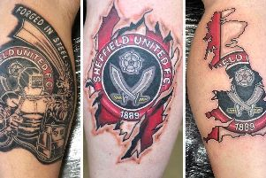 A selection of Sheffield United tattoos.